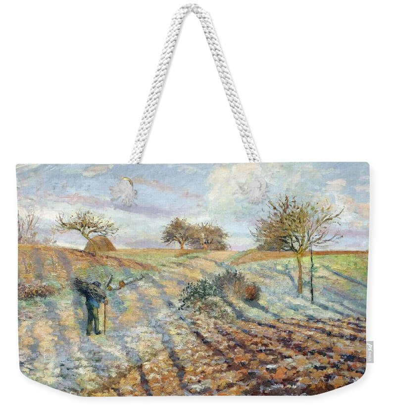 Camille Pissarro Weekender Tote Bag featuring the painting Hoarfrost At Ennery, 1873 by Camille Pissarro