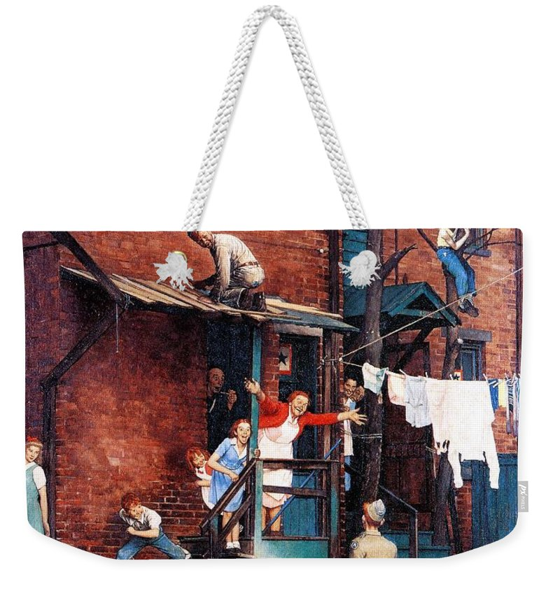 Alley Weekender Tote Bag featuring the drawing Homecoming G.i. by Norman Rockwell