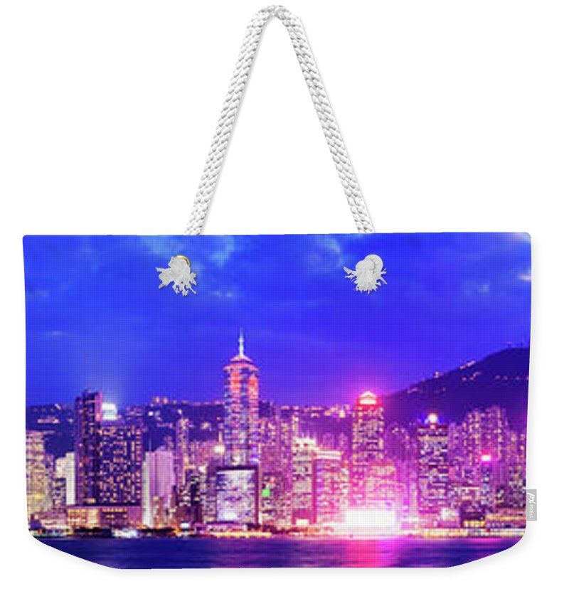 Downtown District Weekender Tote Bag featuring the photograph Hong Kong City Skyline In China by Deejpilot