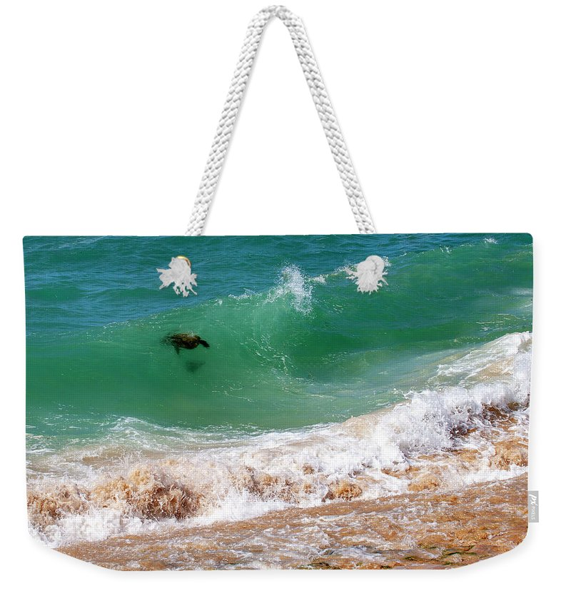 Honu Weekender Tote Bag featuring the photograph Honu Surfing 2 by Anthony Jones