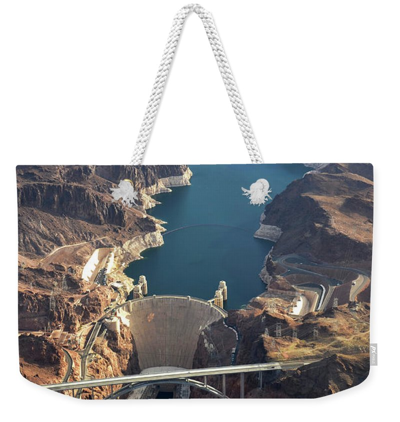 Scenics Weekender Tote Bag featuring the photograph Hoover Dam Aerial by Iwcrabbe
