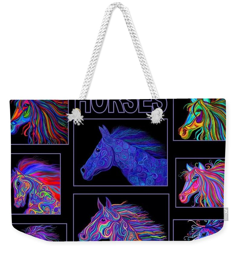 Horses Weekender Tote Bag featuring the digital art Horses Poster by Nick Gustafson
