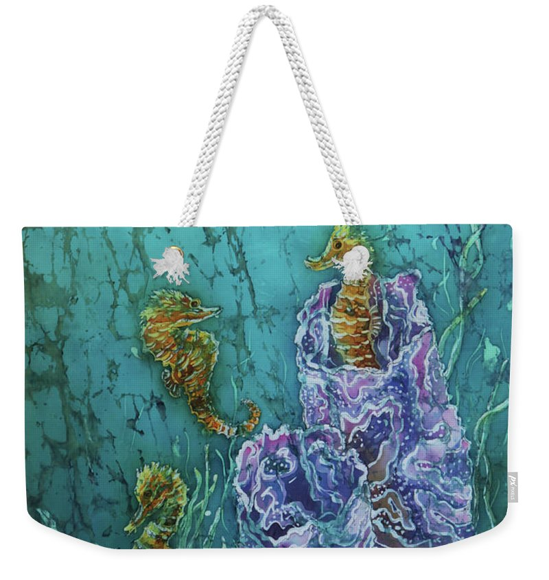 Seahorses Weekender Tote Bag featuring the tapestry - textile Horsin Around by Sue Duda