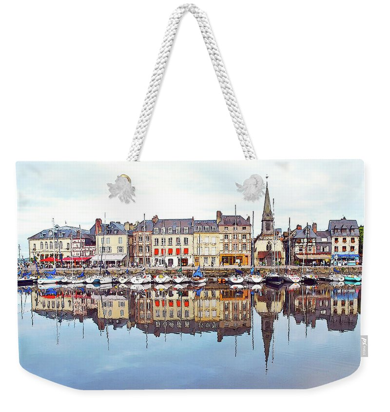 Tranquility Weekender Tote Bag featuring the photograph Houses Reflection In River, Honfleur by Ana Souza