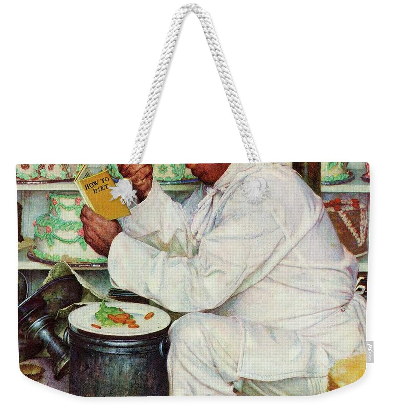 Bakers Weekender Tote Bag featuring the drawing How To Diet by Norman Rockwell