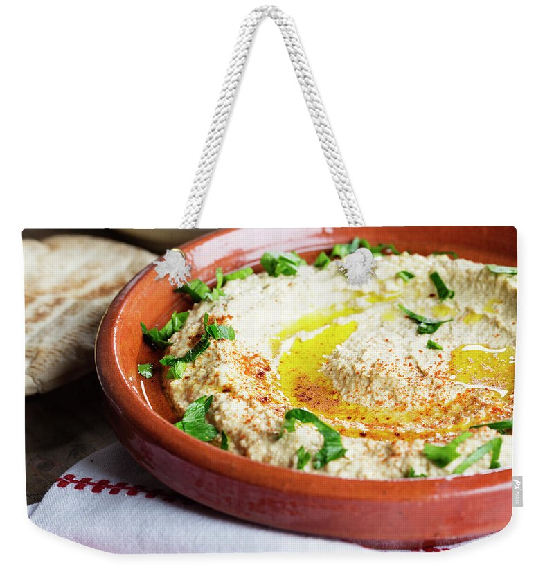 Dish Towel Weekender Tote Bag featuring the photograph Hummus Mediterranean Style by Silvia Jansen
