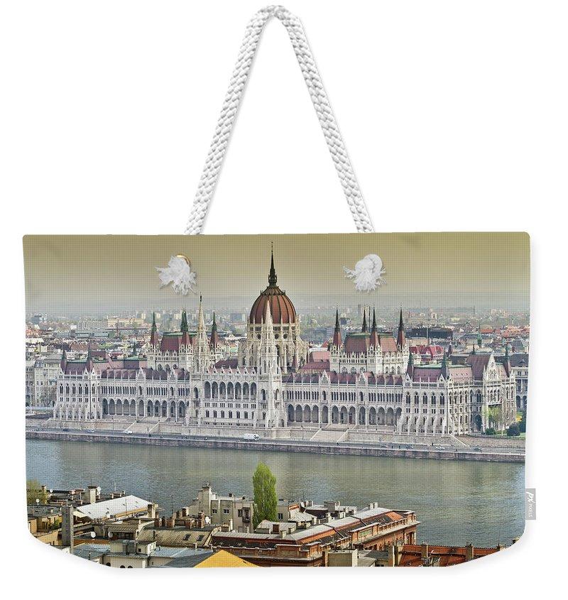 Hungarian Parliament Building Weekender Tote Bag featuring the photograph Hungarian Parliament Building by (c) Thanachai Wachiraworakam