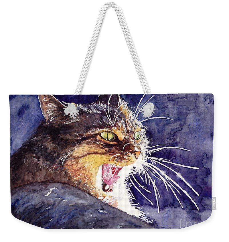 Little Weekender Tote Bag featuring the painting Hunter by Suzann Sines