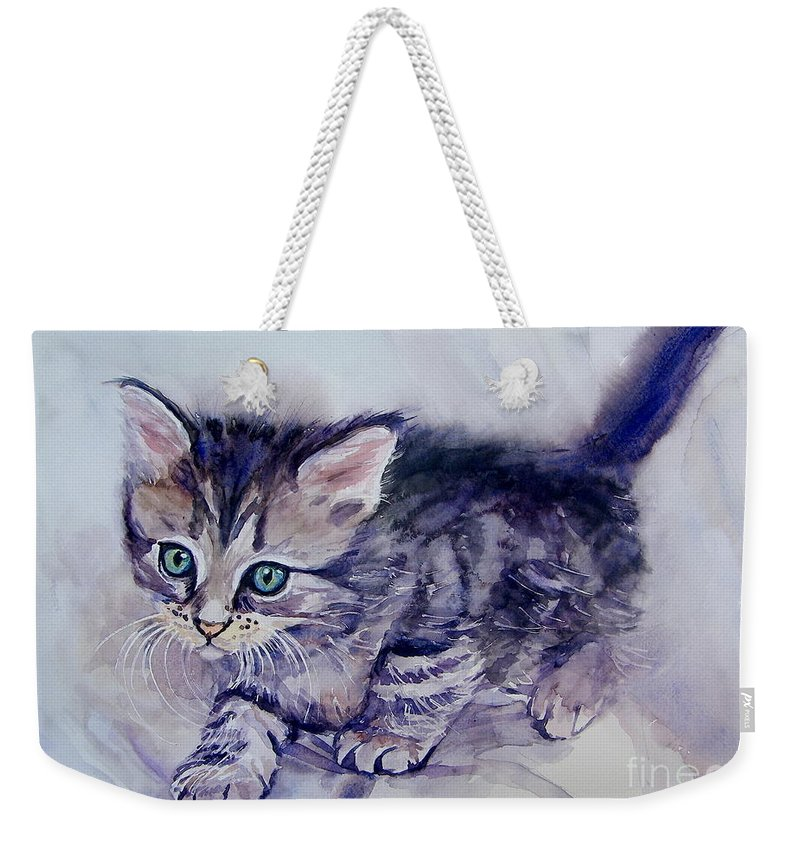 Little Weekender Tote Bag featuring the painting Hunting For A Mouse by Suzann Sines