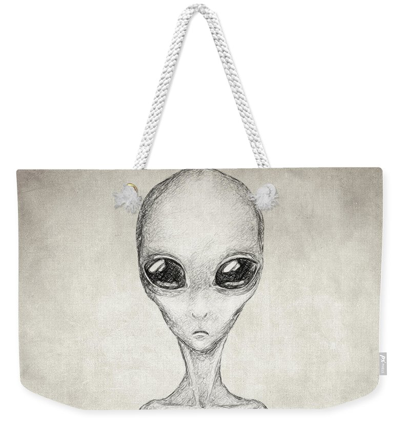Alien Weekender Tote Bag featuring the drawing I Don't Believe In Humans by Zapista OU