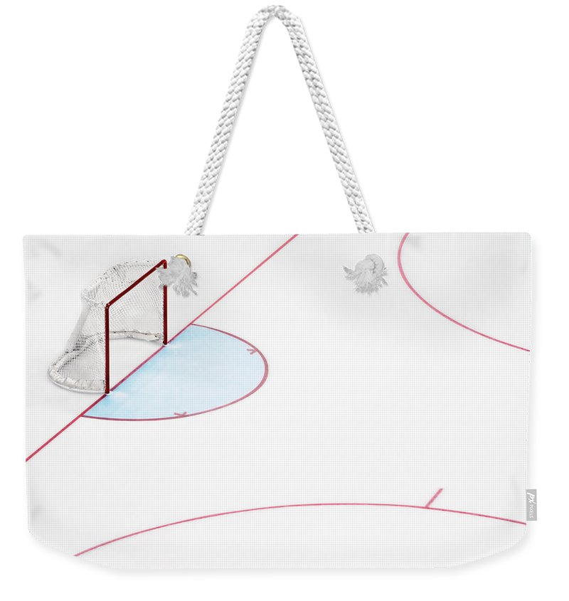 Sport Weekender Tote Bag featuring the photograph Ice Hockey Goal Net And Empty Rink by David Madison