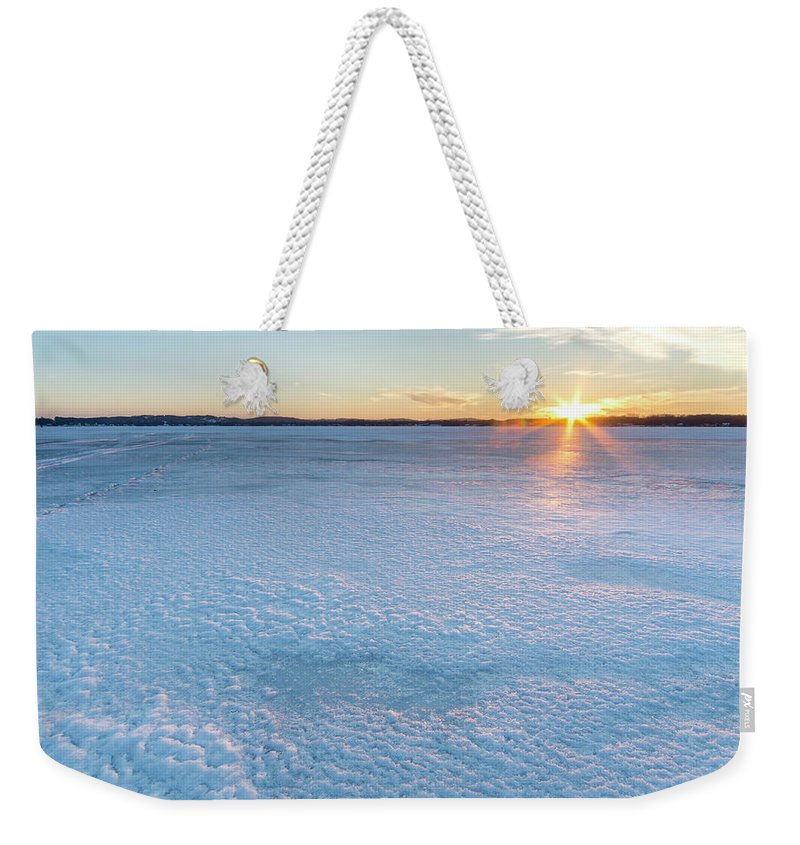 Bear Lake Weekender Tote Bag featuring the photograph Icy Sunset Square by Twenty Two North Photography