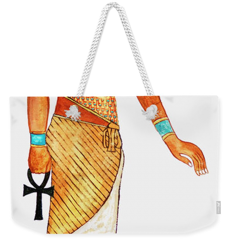 Watercolor Painting Weekender Tote Bag featuring the digital art Illustration Of Ancient Egyptian God Of by Dorling Kindersley