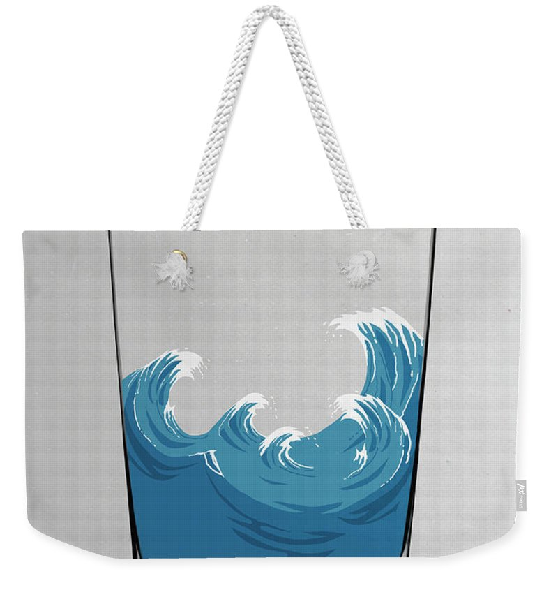 Concepts & Topics Weekender Tote Bag featuring the digital art Illustration Of Choppy Waves In A Water by Malte Mueller