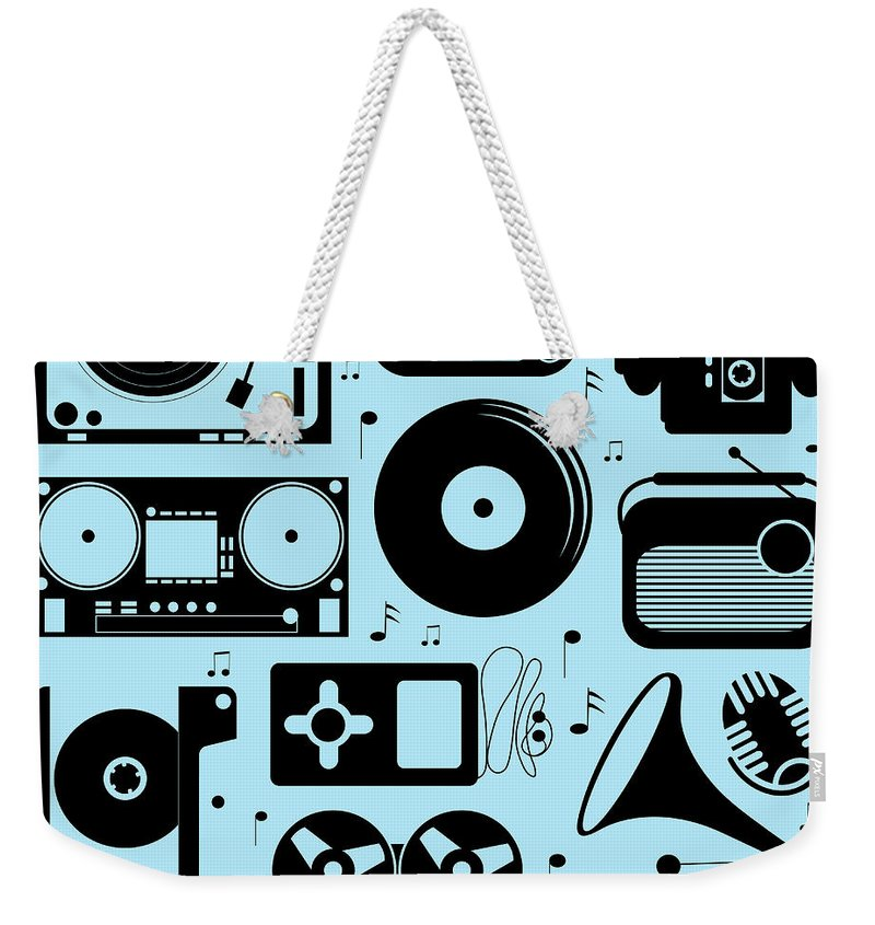 Music Weekender Tote Bag featuring the digital art Illustration Of Different Musical by Olillia