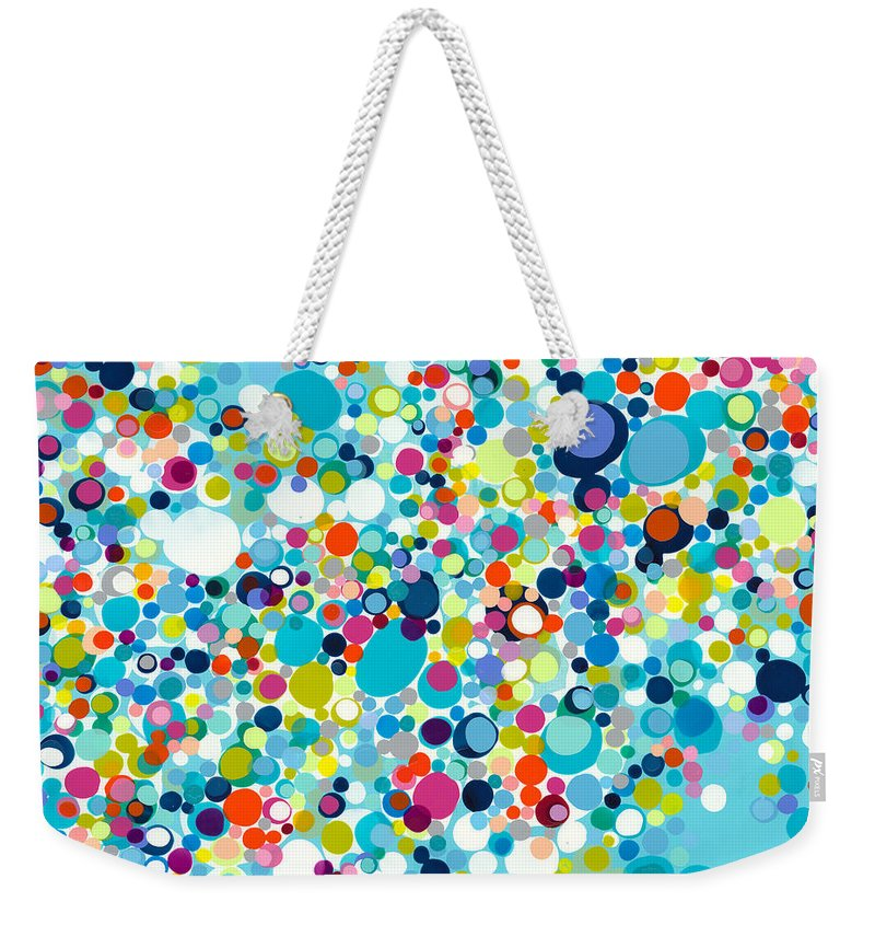 Abstract Weekender Tote Bag featuring the painting In The Meantime by Claire Desjardins