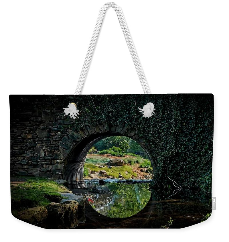 Bridge Weekender Tote Bag featuring the photograph In the Middle of A Reflection by Zayne Diamond Photographic
