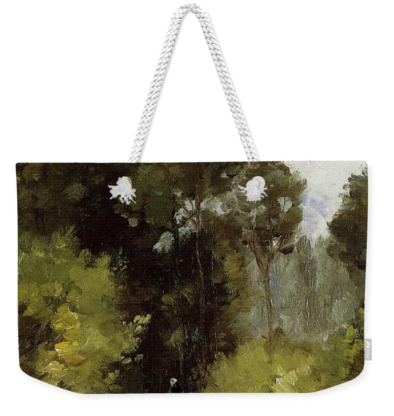 Camille Pissarro Weekender Tote Bag featuring the painting In The Woods, 1864 by Camille Pissarro