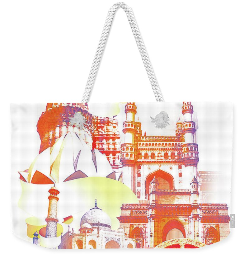 Architectural Feature Weekender Tote Bag featuring the digital art Indian Monuments Collage by Anand Purohit