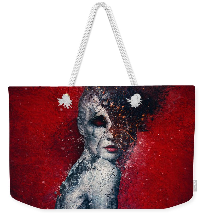 Red Weekender Tote Bag featuring the digital art Indifference by Mario Sanchez Nevado