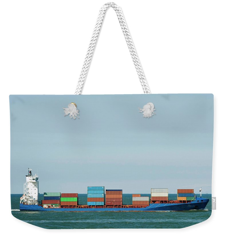 Freight Transportation Weekender Tote Bag featuring the photograph Industrial Barge Carrying Containers by Mischa Keijser