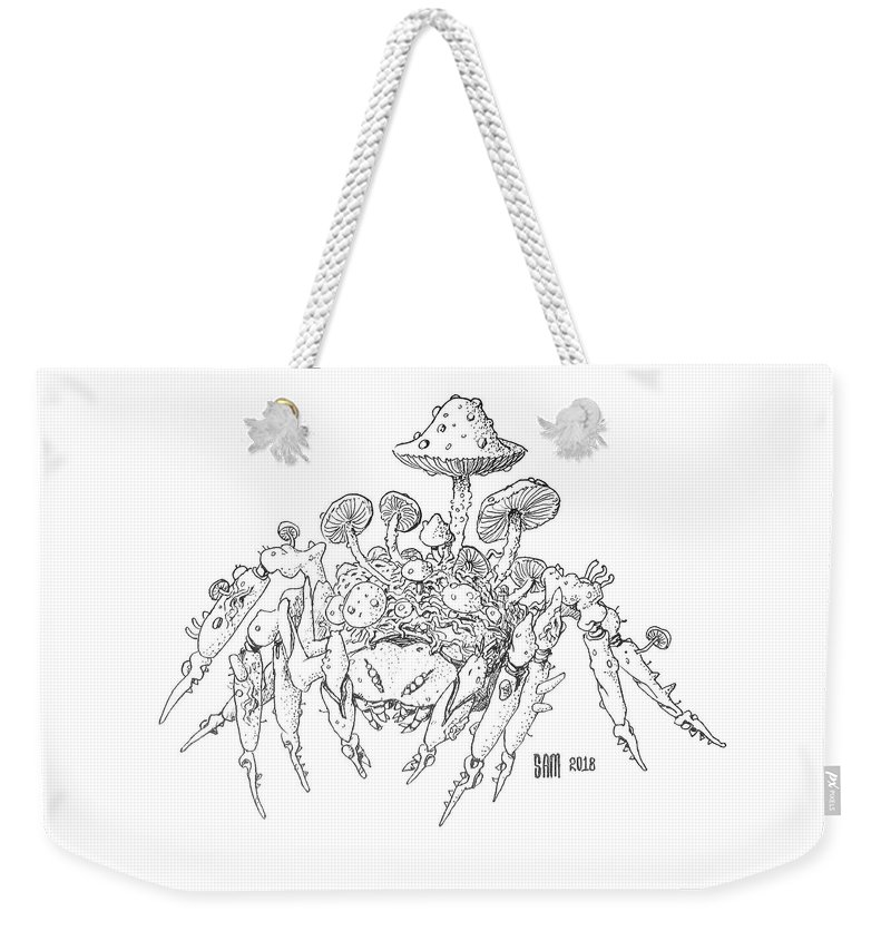 Spider Weekender Tote Bag featuring the drawing Infested Spider by Sami Matilainen