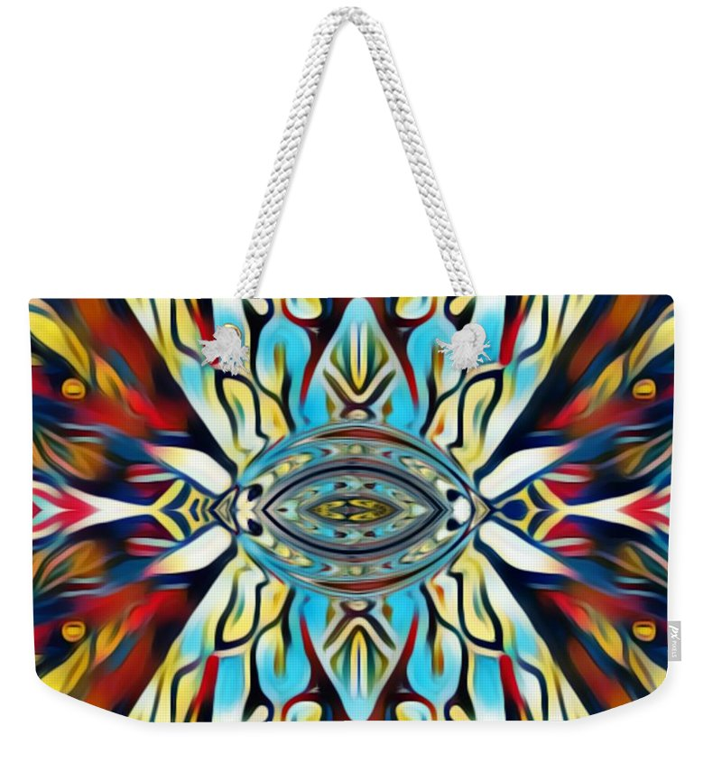 Fania Simon Weekender Tote Bag featuring the mixed media Insist Or Stay Hidden by Fania Simon