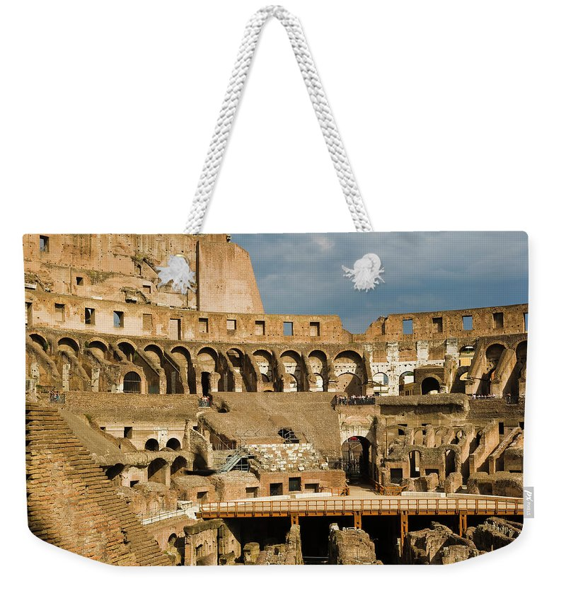 Arch Weekender Tote Bag featuring the photograph Interior Of The Colosseum, Rome, Italy by Juan Silva