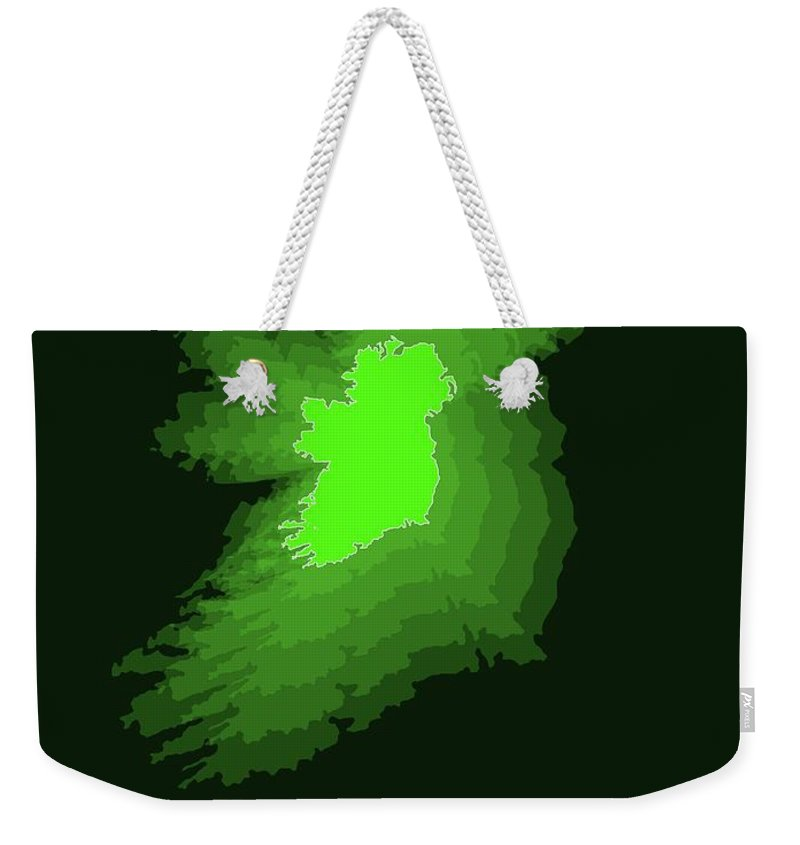 Ireland Weekender Tote Bag featuring the pyrography Ireland Radiant Map 2 by Naxart Studio