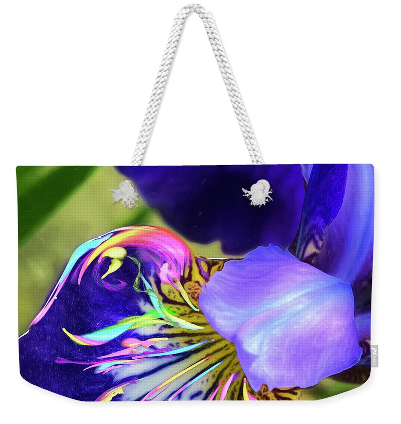 Weekender Tote Bag featuring the digital art Iris Osirus by Cindy Greenstein