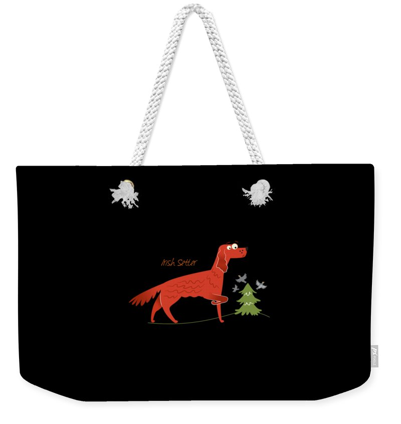 Funny-puppy Weekender Tote Bag featuring the digital art Irish Setter by DogBoo