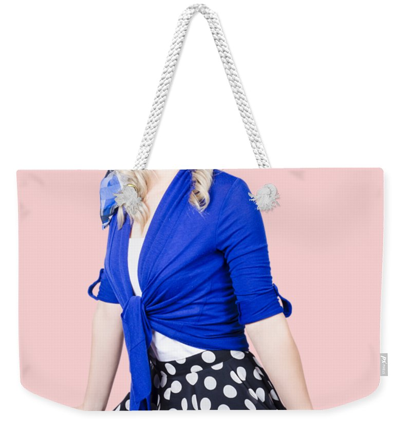 Revival Weekender Tote Bag featuring the photograph Isolated Pin-up Woman Posing by Jorgo Photography - Wall Art Gallery