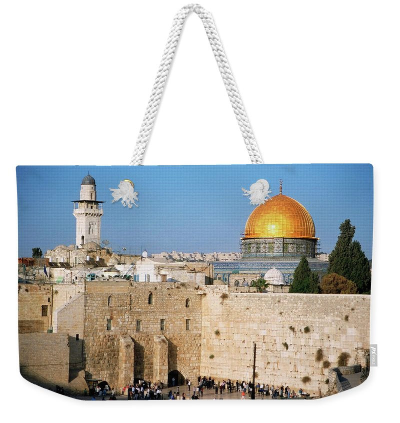 Dome Of The Rock Weekender Tote Bag featuring the photograph Israel, Jerusalem, Western Wall And The by Medioimages/photodisc
