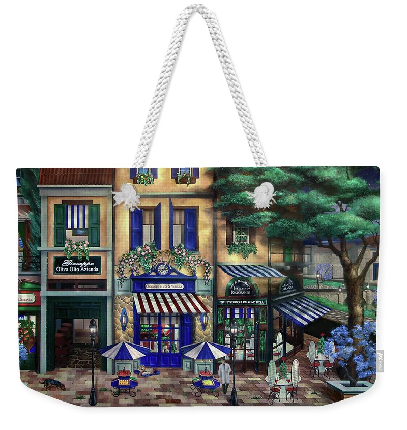 Italian Weekender Tote Bag featuring the mixed media Italian Cafe by Curtiss Shaffer