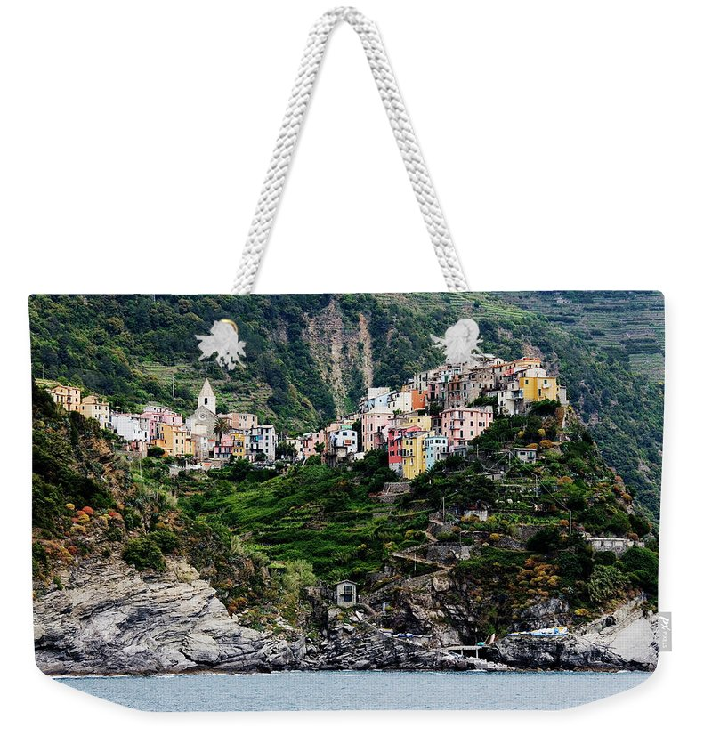 Town Weekender Tote Bag featuring the photograph Italy, Liguria, Corniglia, View From by Jeremy Woodhouse