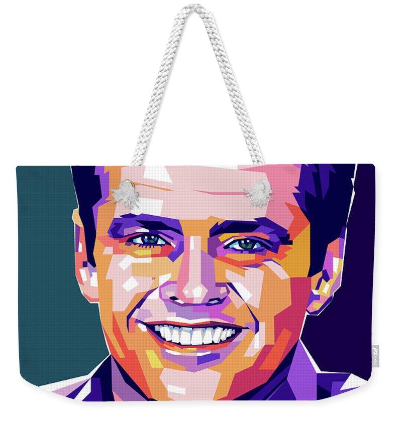 Jack Weekender Tote Bag featuring the digital art Jack Nicholson Portrait by Stars on Art