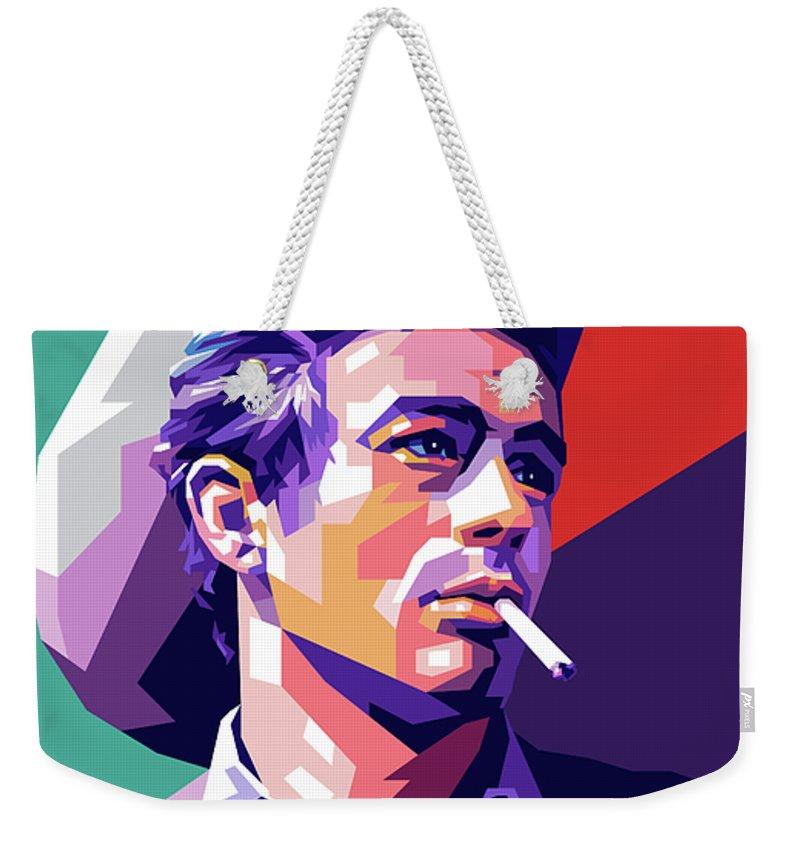 James Weekender Tote Bag featuring the digital art James Dean Portrait by Stars on Art