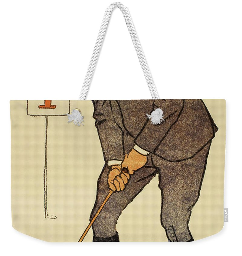 Golf Weekender Tote Bag featuring the painting January, Detail From 1931 Golfing Calendar by Edward Penfield