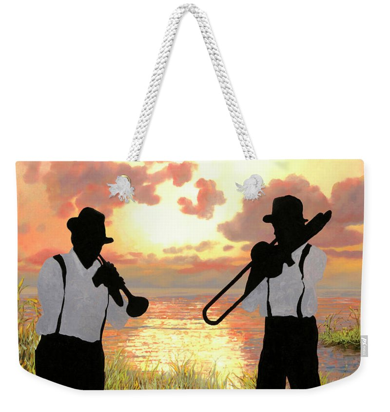Jazz Weekender Tote Bag featuring the painting Jazz Al Tramonto by Guido Borelli