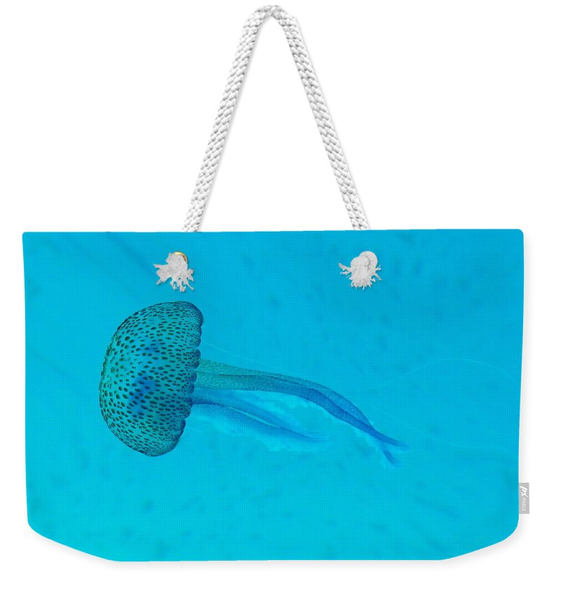 Underwater Weekender Tote Bag featuring the photograph Jellyfish In Wild by Sir Francis Canker Photography
