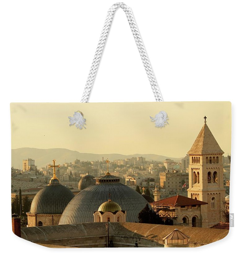 West Bank Weekender Tote Bag featuring the photograph Jerusalem Churches On The Skyline by Picturejohn