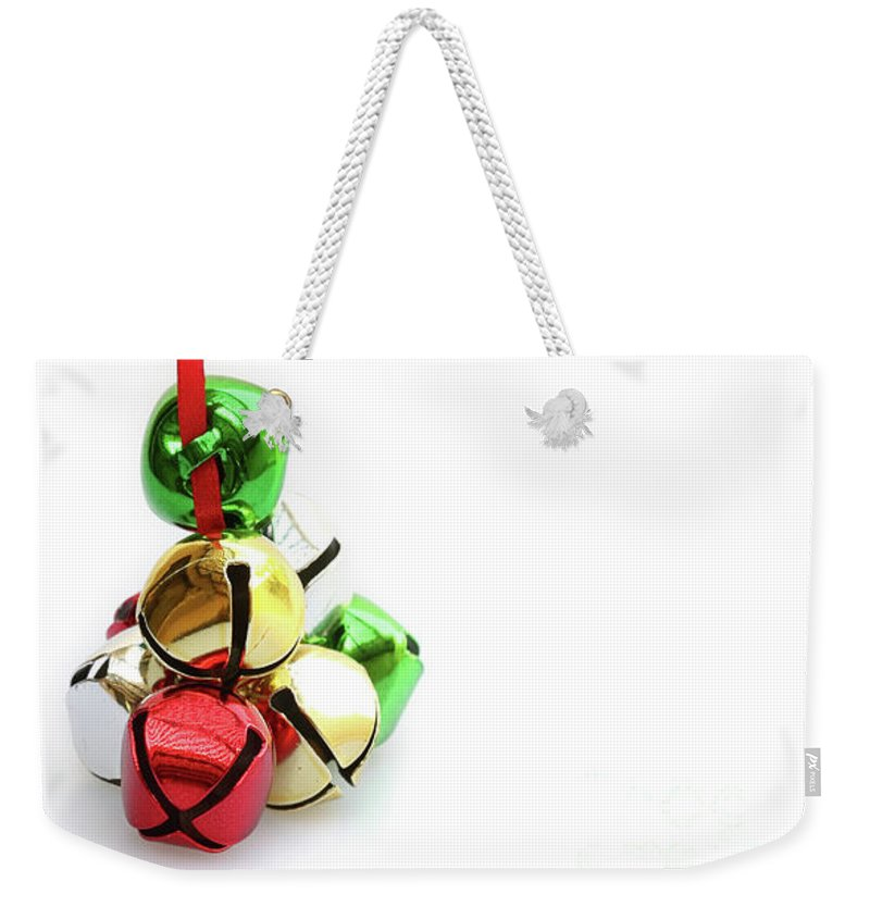 Christmas Weekender Tote Bag featuring the photograph Jingle Bells by Dia Karanouh