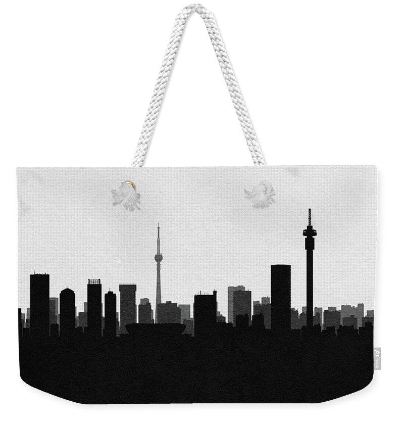 Johannesburg Weekender Tote Bag featuring the digital art Johannesburg Cityscape Art by Inspirowl Design