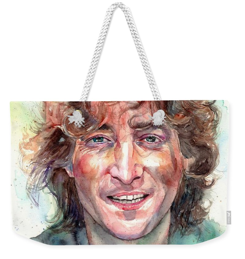 John Lennon Weekender Tote Bag featuring the painting John Lennon Smiling by Suzann Sines