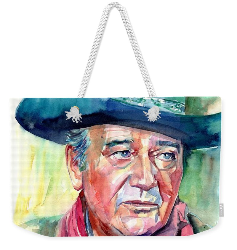 John Weekender Tote Bag featuring the painting John Wayne Portrait by Suzann Sines