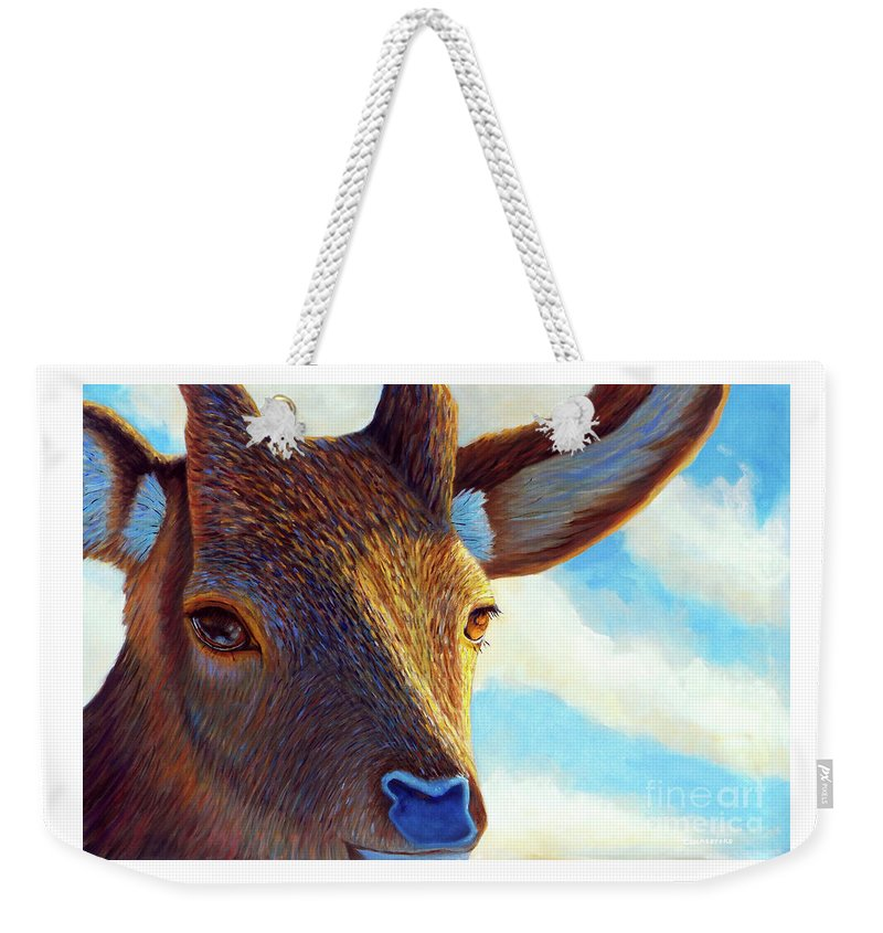 Deer Weekender Tote Bag featuring the painting Johnny On The Spot by Brian Commerford