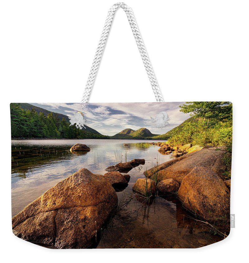 Scenics Weekender Tote Bag featuring the photograph Jordan Pond Rocks by Www.cfwphotography.com