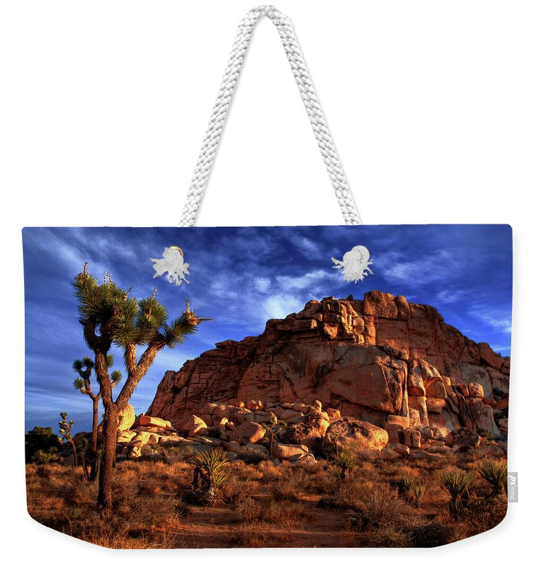California Weekender Tote Bag featuring the photograph Joshua Tree And Rock Pile by Bill Wight Ca