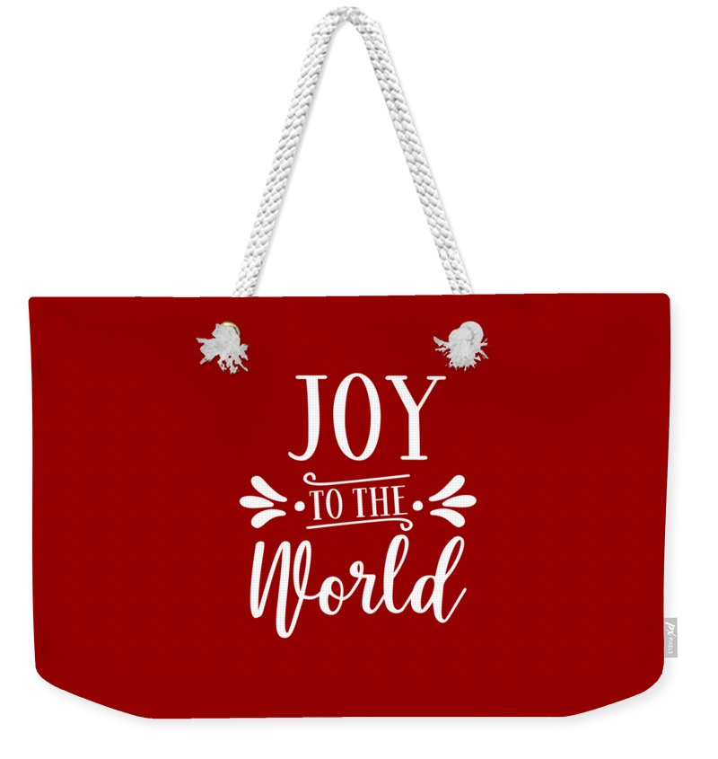 Christmas Weekender Tote Bag featuring the digital art Joy To The World by Print My Mind