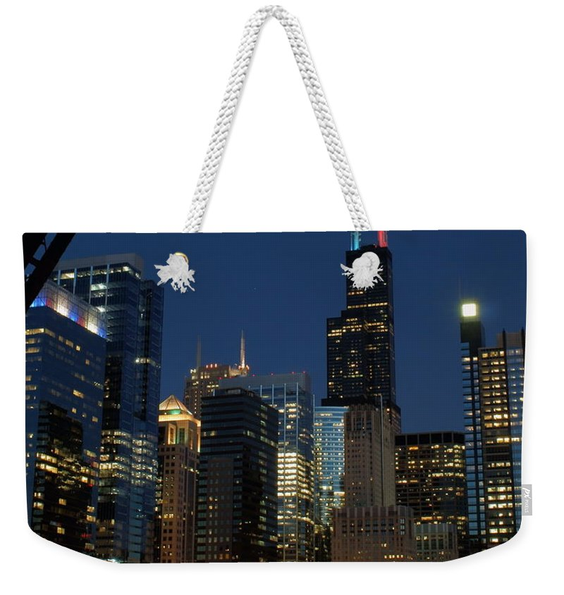 Chicago River Weekender Tote Bag featuring the photograph July Night Chicago River Skyline by Igermz